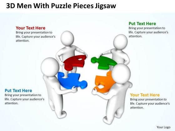 Business Process Diagrams 3d Man With Jigsaw Puzzle Pieces PowerPoint Slides