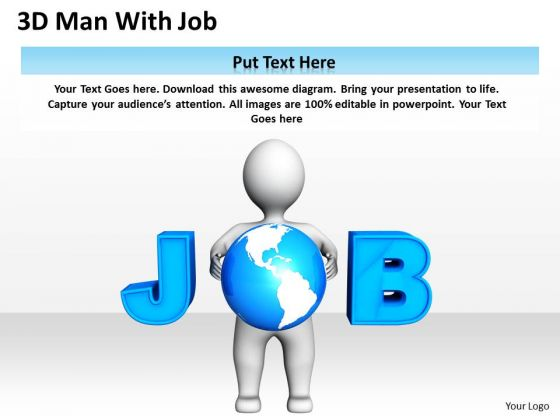Business Process Diagrams 3d Man With Job PowerPoint Slides