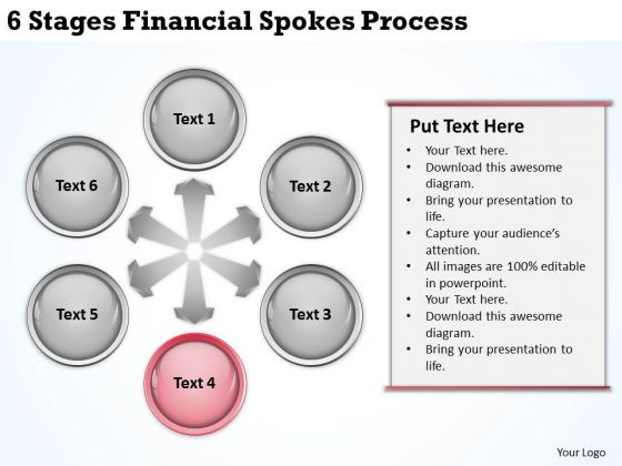 Business Process Diagrams 6 Stages Financial Spokes PowerPoint Templates