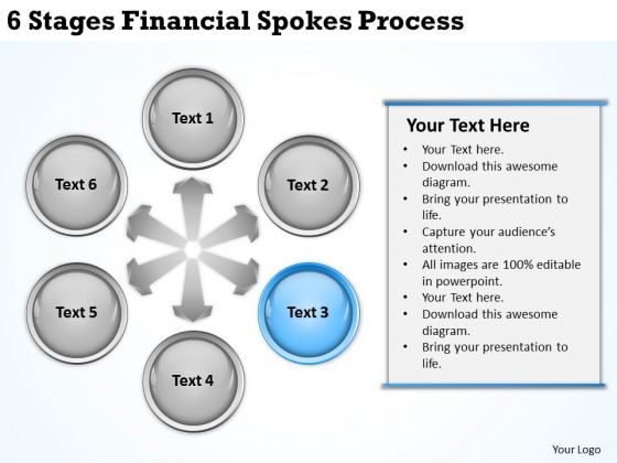 Business Process Diagrams 6 Stages Financial Spokes Ppt PowerPoint Templates