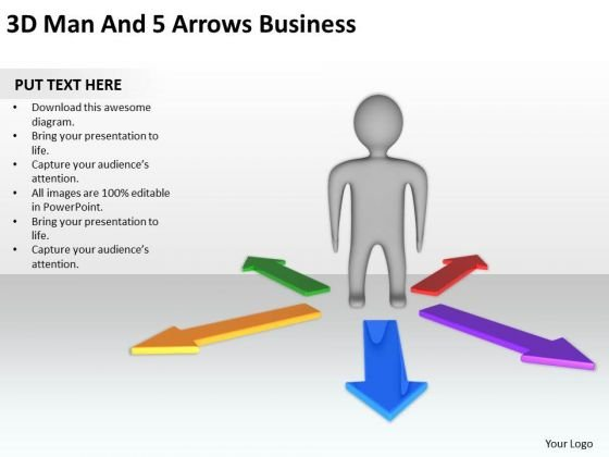 Business Process Diagrams Examples 3d Man And Arrows PowerPoint Slides