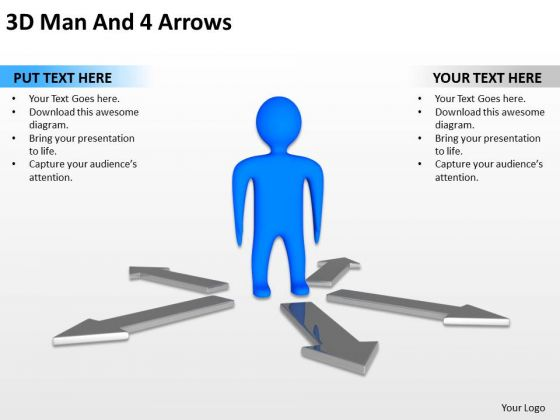 Business Process Diagrams Examples 3d Man Arrows PowerPoint Slides