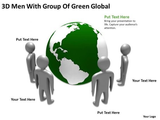 Business Process Diagrams Examples 3d Men With Group Of Green Global PowerPoint Templates