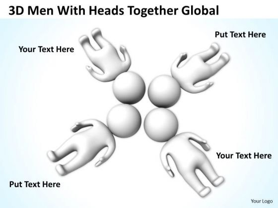 Business Process Diagrams Examples 3d Men With Heads Together Global PowerPoint Templates