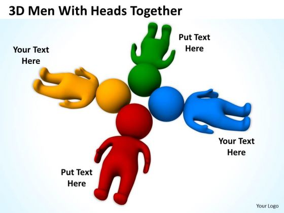 Business Process Diagrams Examples 3d Men With Heads Together PowerPoint Templates