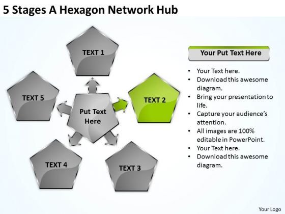 Business Process Diagrams Examples 5 Stages Hexagon Network Hub Ppt PowerPoint Slides