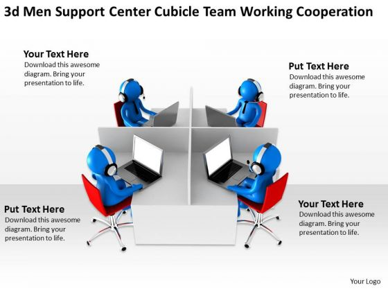 Business Process Diagrams Examples Center Cubicle Team Working Cooperation PowerPoint Slides
