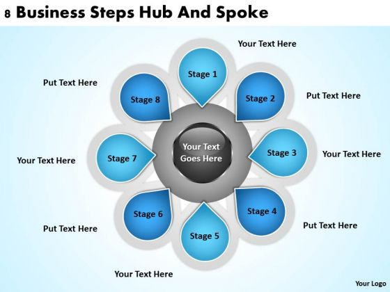 Business Process Diagrams Examples Download Steps Hub And Spoke PowerPoint Templates