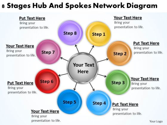 Business Process Diagrams Examples Stages Hub And Spokes Network PowerPoint Templates