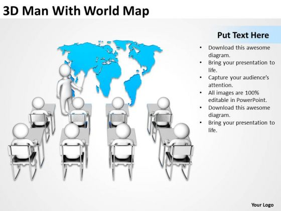 Business Process Flow 3d Man With World Map PowerPoint Templates Backgrounds For Slides