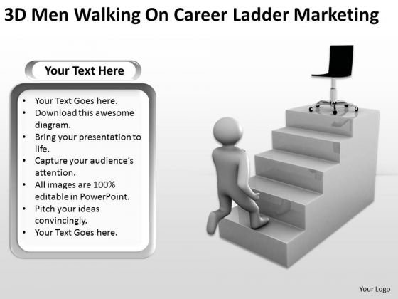 Business Process Flow 3d Men Walking On Career Ladder Marketing PowerPoint Templates