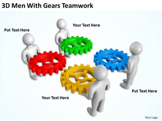 Business Process Flow 3d Men With Gears Teamwork PowerPoint Templates