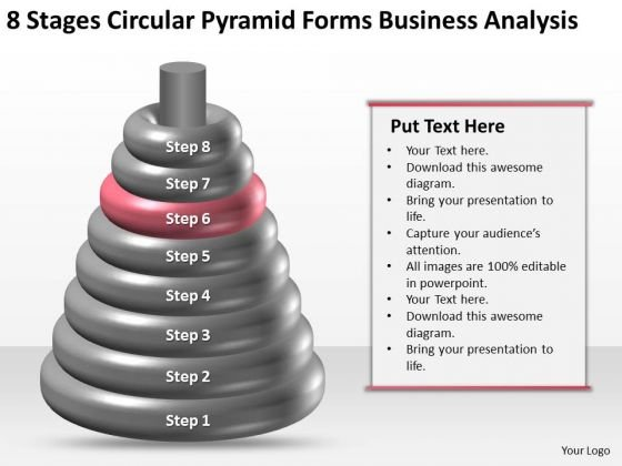 Business Process Flow 8 Stages Circular Pyramid Forms Analysis PowerPoint Slides