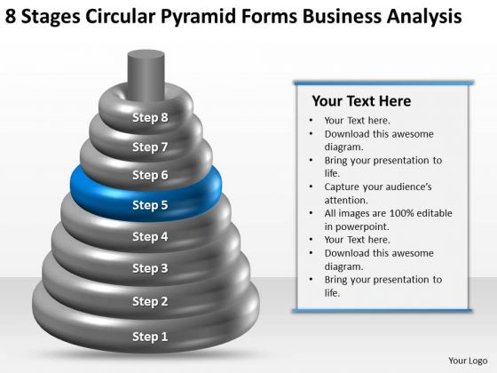 Business Process Flow 8 Stages Circular Pyramid Forms Analysis PowerPoint Templates
