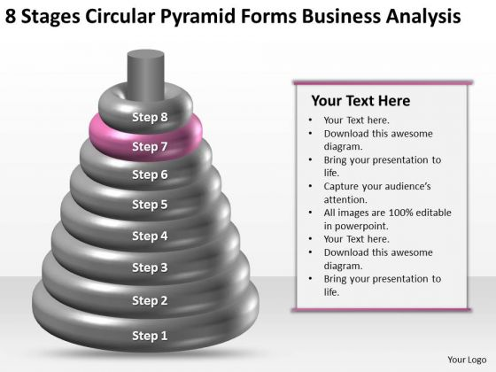 Business Process Flow 8 Stages Circular Pyramid Forms Analysis Ppt 7 PowerPoint Templates