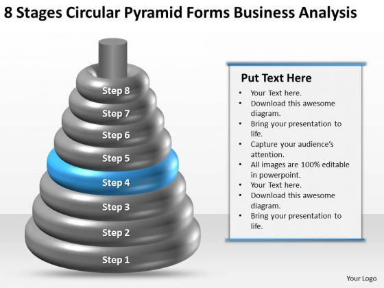 Business Process Flow 8 Stages Circular Pyramid Forms Analysis Ppt PowerPoint Template