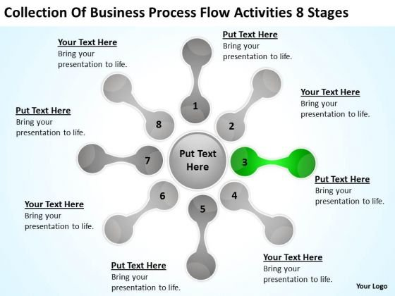 Business Process Flow Activities 8 Stages Create Plan PowerPoint Slides