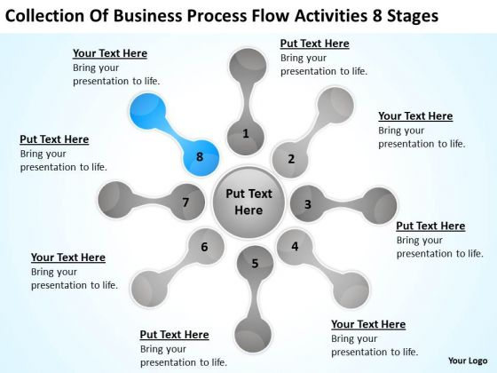 Business Process Flow Activities 8 Stages Plan Template PowerPoint Templates