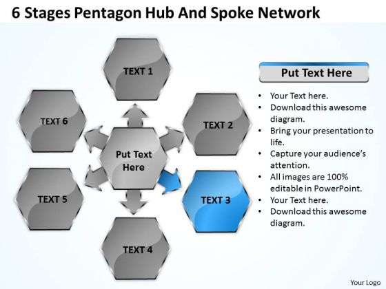 Business Process Flow Chart Example Pentagon Hub And Spoke Network Ppt PowerPoint Templates