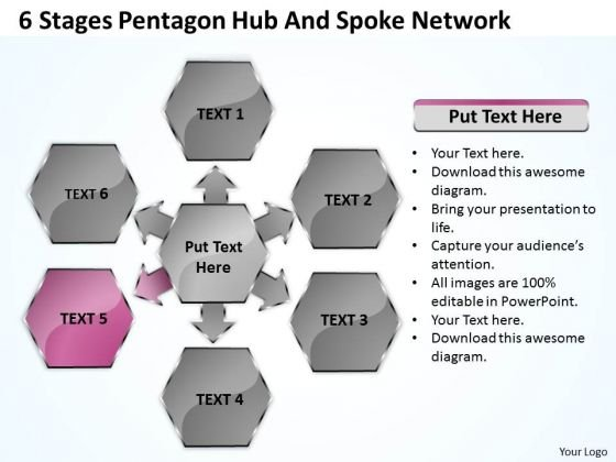Business Process Flow Chart Example Stages Pentagon Hub And Spoke Network Ppt PowerPoint Templates