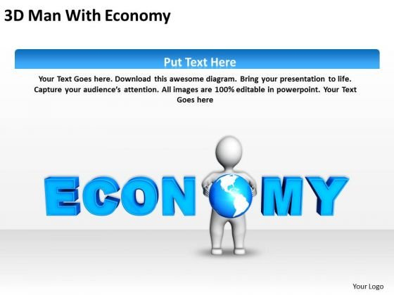 Business Process Flow Chart Examples 3d Man With Economy PowerPoint Slides