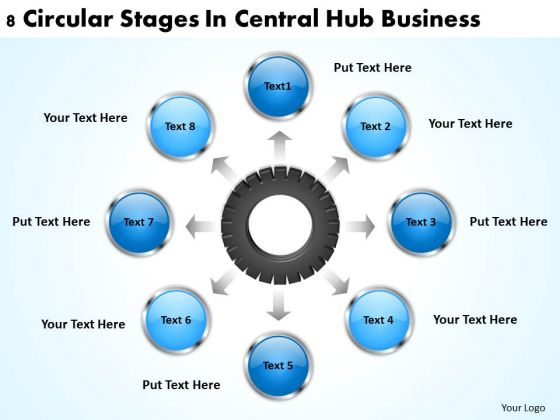Business Process Flow Chart Examples Central Hub PowerPoint Theme Templates