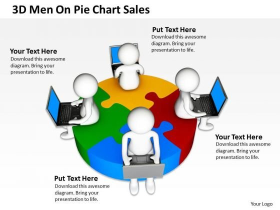 Business Process Flow Diagram 3d Men On Pie Chart Sales PowerPoint Templates