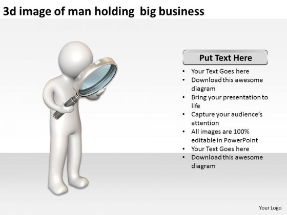 Business Process Flow Diagram Examples 3d Image Of Man Holding Big PowerPoint Templates