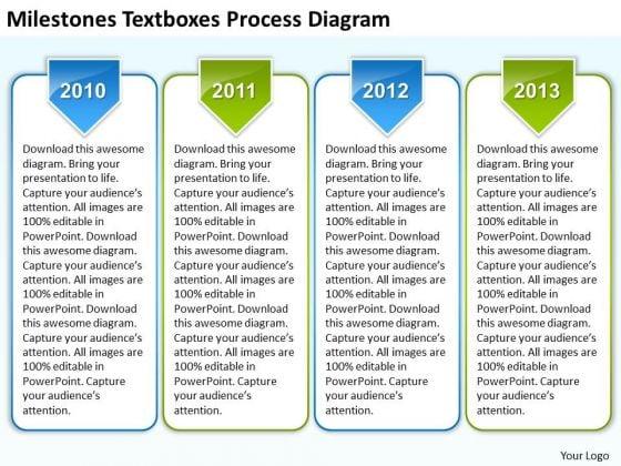 Business Process Flow Diagram Textboxes Ppt PowerPoint Templates