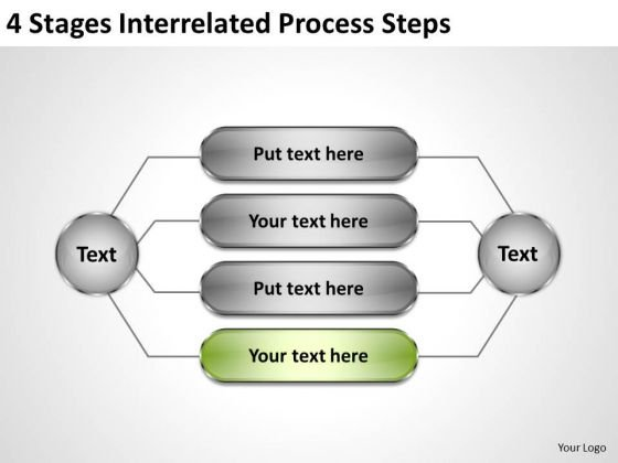 Business Process Flow Diagrams 4 Stages Interrelated Steps PowerPoint Templates