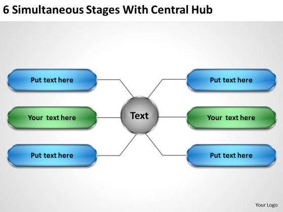 Business Process Flow Diagrams With Central Hub PowerPoint Templates Ppt Backgrounds For Slides