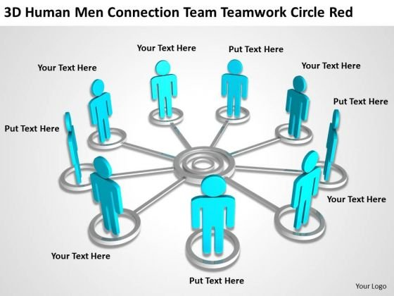 Business Process Flow Team Teamwork Circle Red PowerPoint Templates Ppt Backgrounds For Slides