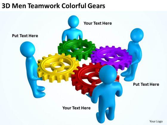 Business Process Flowchart 3d Men Teamwork Colorful Gears PowerPoint Slides