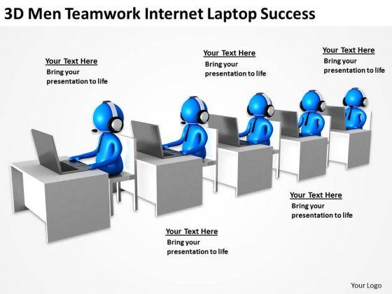 Business Process Flowchart 3d Men Teamwork Internet Laptop Success PowerPoint Slides