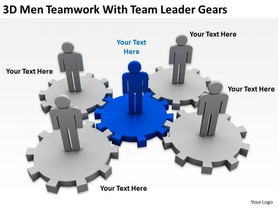 Business Process Flowchart 3d Men Teamwork With Leader Gears PowerPoint Slides