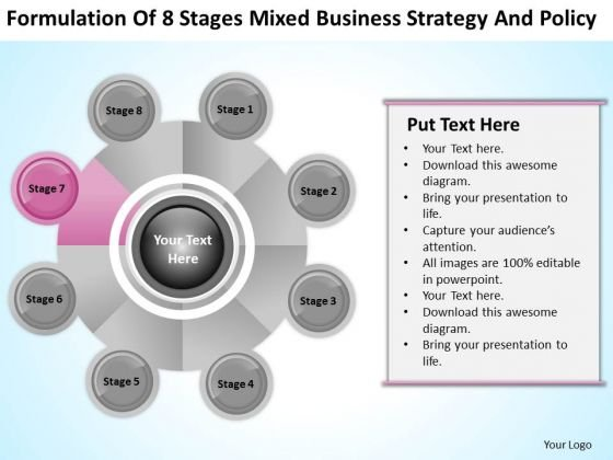 Business Process Flowchart 8 Stages Mixed Strategy And Policy Ppt PowerPoint Template