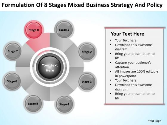 Business Process Flowchart 8 Stages Mixed Strategy And Policy Ppt PowerPoint Templates