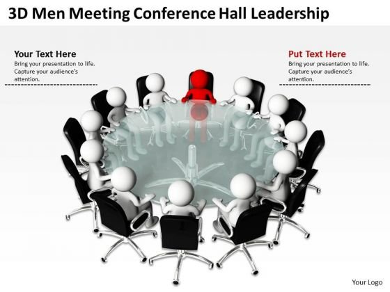 Business Process Flowchart Examples 3d Men Meeting Conference Hall Leadership PowerPoint Slides