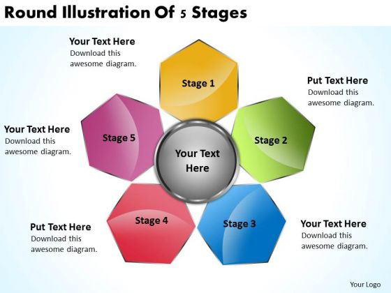 Business Process Flowchart Examples Round Illustration Of 5 Stages PowerPoint Templates
