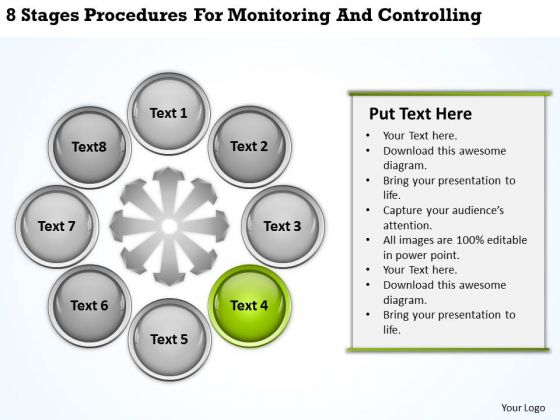 Business Process Flowchart Procedures For Monitoring And Controlling PowerPoint Template