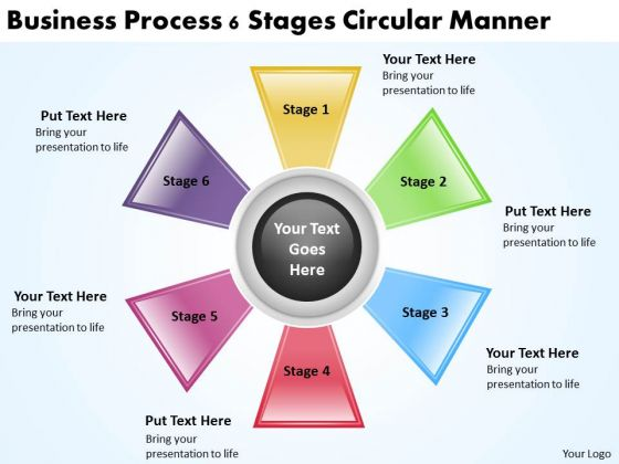 Business Process Management Diagram Download 6 Stages Circular Manner PowerPoint Slides