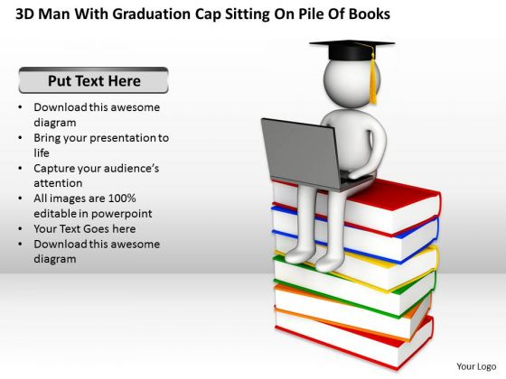 Business Process Management Diagram With Graduation Cap Sitting Pile Of Books PowerPoint Slides