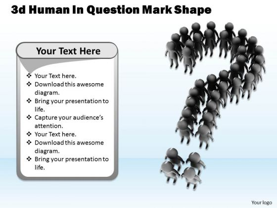 Business Process Strategy 3d Human Question Mark Shape Concept Statement