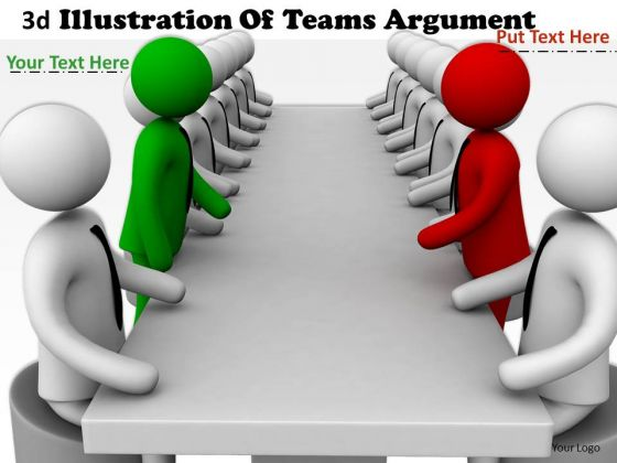 Business Process Strategy 3d Illustration Of Teams Argument Character Models
