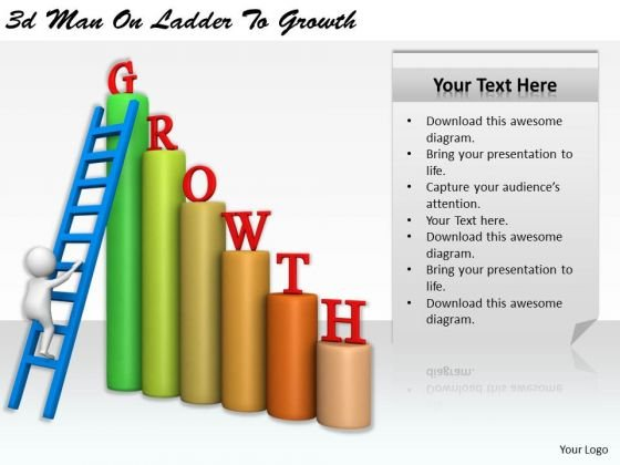 Business Process Strategy 3d Man On Ladder To Growth Character Modeling