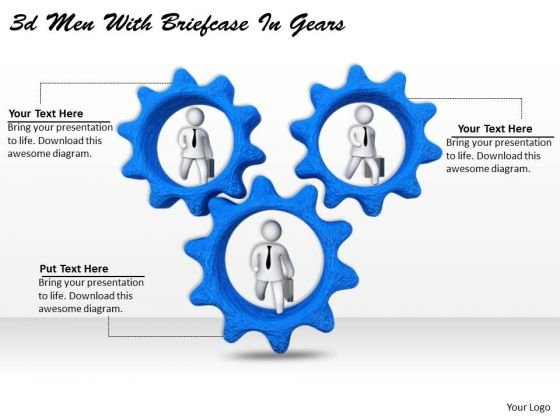 Business Process Strategy 3d Men With Briefcase Gears Basic Concepts