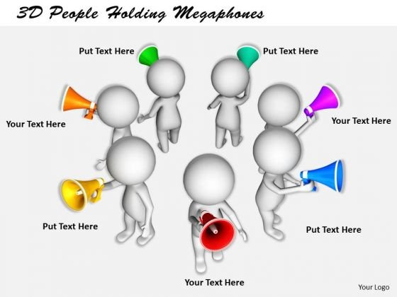 Business Process Strategy 3d People Holding Megaphones Character