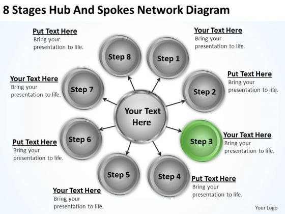 Business Processes 8 Stages Hub And Spokes Network Diagram Ppt 4 PowerPoint Slides