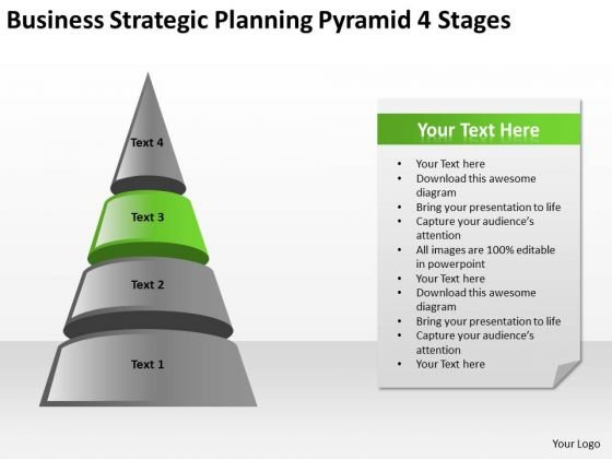 Business Strategic Planning Pyramid 4 Stages Ppt Help PowerPoint Slides