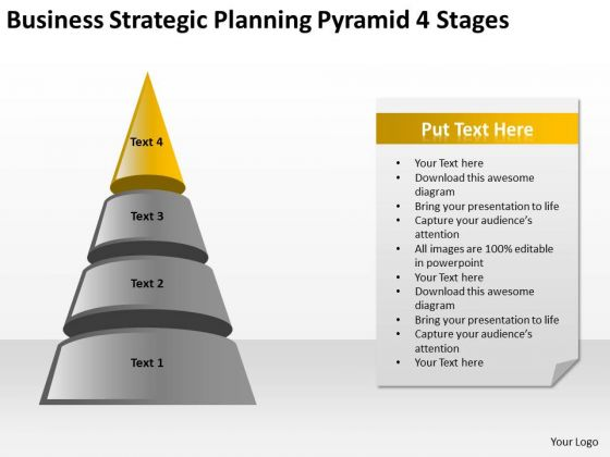 Business Strategic Planning Pyramid 4 Stages Ppt How Make PowerPoint Templates